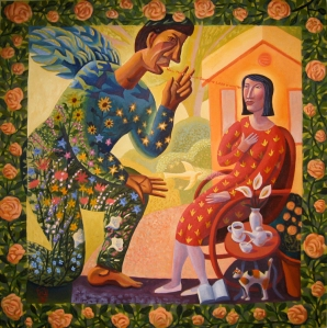 """Joyful Mystery #1: Annunciation,"" Jim Janknegt, contemporary"
