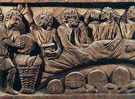 Carving of an early Christian communion meal