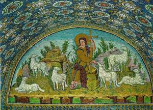 "Mosaic, ""Jesus the Good Shepherd,"" Ravenna, Italy, 5th Century"