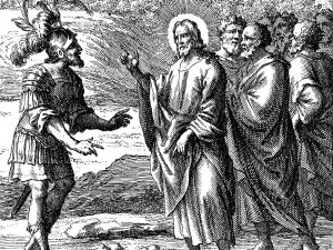 Jesus and the Centurion (wood carving)