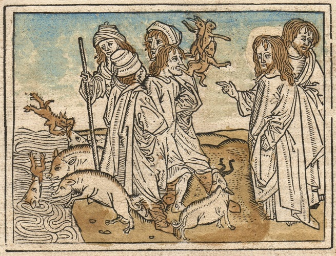"""Jesus and the Demoniac"", woodcutting"