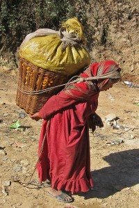 Nepalese woman bearing burden
