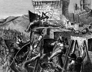 19th century illustration of a Babylonian siege