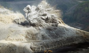 Mountaintop removal blasting in the Appalachian Mountains