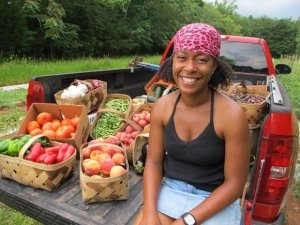 Sow Much Good founder Robin Emmons, and her produce
