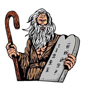 Moses Carrying The Ten Commandments On A Tablet