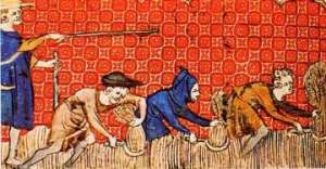 Serfs harvesting grain under their lord