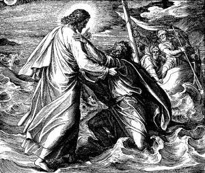 """Peter Walking on Water,"" woodcut"